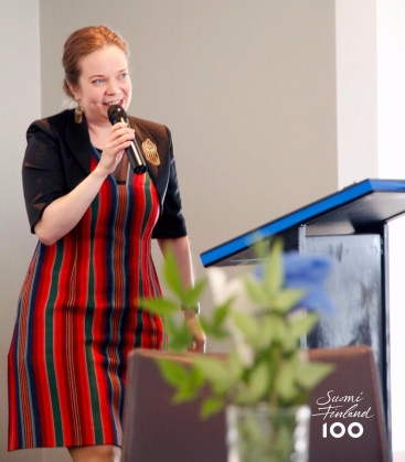 Sanna Peden performing a Kalevala-inspired poem. Photo by Mika Thwaites.